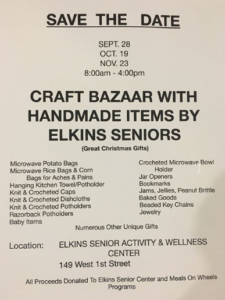 Craft Bazaar with Handmade Items (Elkins Senior Center) @ Elkins Senior Center | Elkins | Arkansas | United States