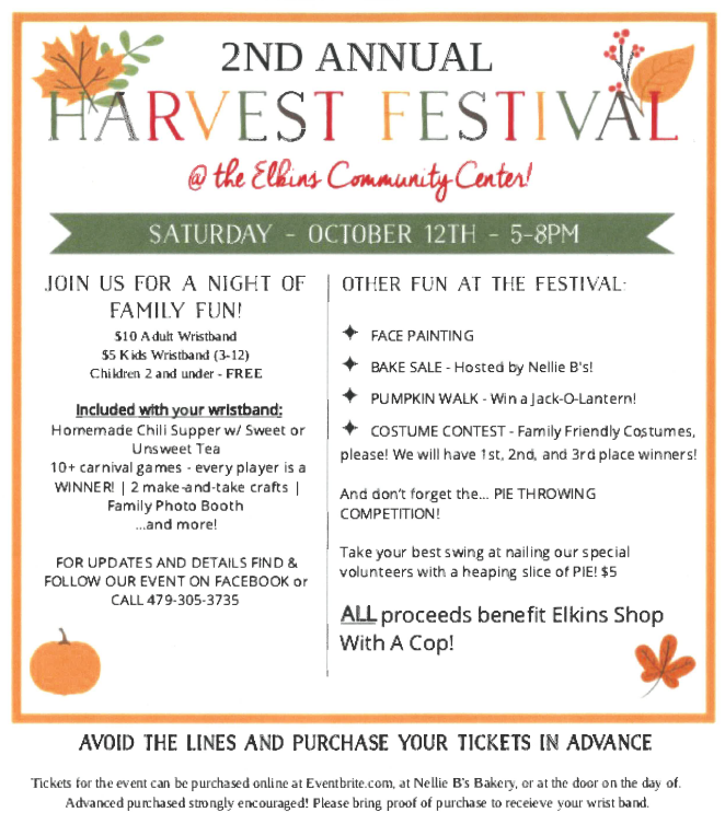 2nd Annual Harvest Festival – Oct. 12