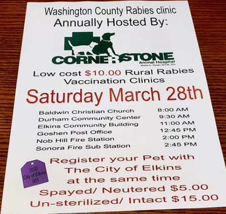 Canceled – Rabies Clinic – March 28th