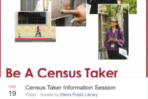 Become a census taker! - join as at the Library, Feb 19 @ Elkins Public Library | Elkins | Arkansas | United States