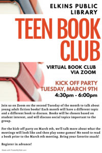 Teen Book Club @ Zoom - Hosted by the Elkins Public Library